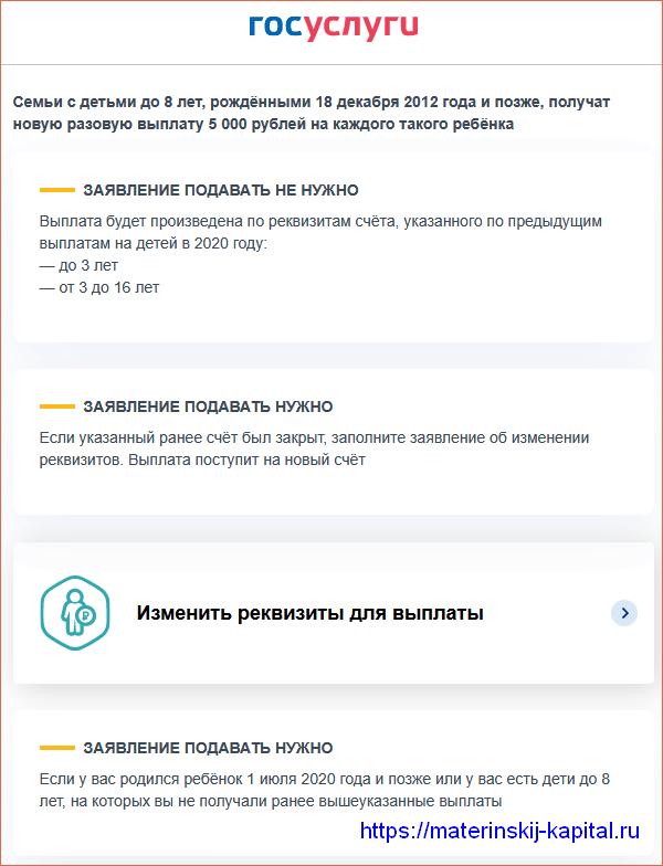 Условия новой выплаты разовой 5000 рублей в декабре на портале Госуслуг